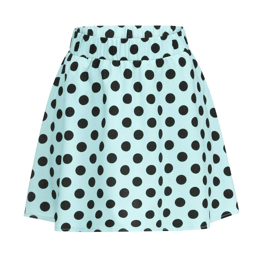 EINCcm Polka Dot Print Skirt Skater Skirt for Women, Elastic High Waist a-Line Swing Mini Skirt Summer Casual Flare Skirt(Green, XL)