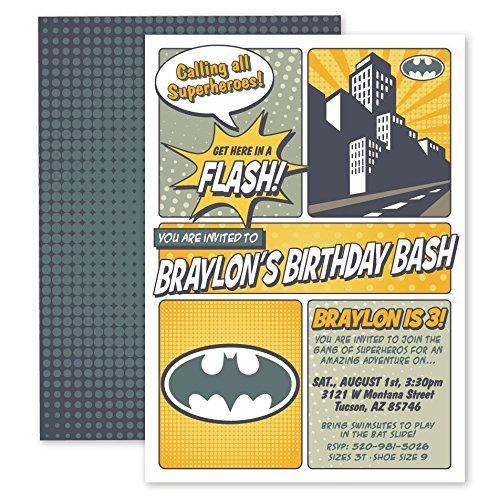 Image Unavailable Not Available For Color Customized Comic Book Super Hero Birthday Party Invitations