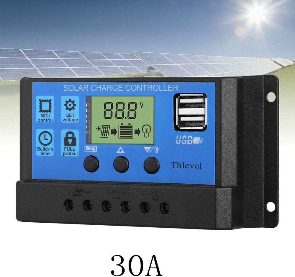 Thlevel 30A Regolatore di Carica Solare 12V//24V Intelligente Regolatore di Carica della Batteria del Pannello Solare con Display LCD e Doppia Porta USB per Solare Lampada Batteria e LED Illuminazione