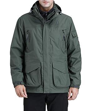 CAMEL CROWN Chaquetas Cortavientos Hombre Invierno, 3 en 1 Impermeable Chaqueta de Esquí de Lana Abrigo Deportivo para Senderismo Esquiar