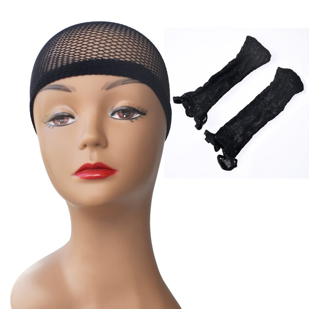Yonna Wig Cap 2 Pack Black Colour Elastic Stretch Mesh Wig Caps for Making Wigs Touca Para Peruca Hair Net