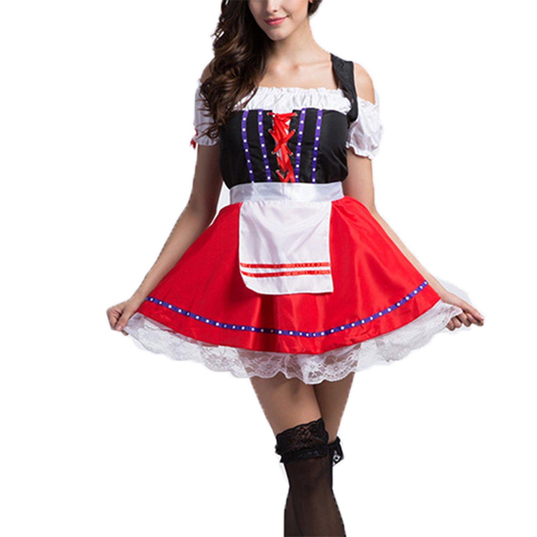 Damen Dirndl,Bluse und Schürze 3 teilig Oktoberfest Cosplay Kellnerin Maid Kleid