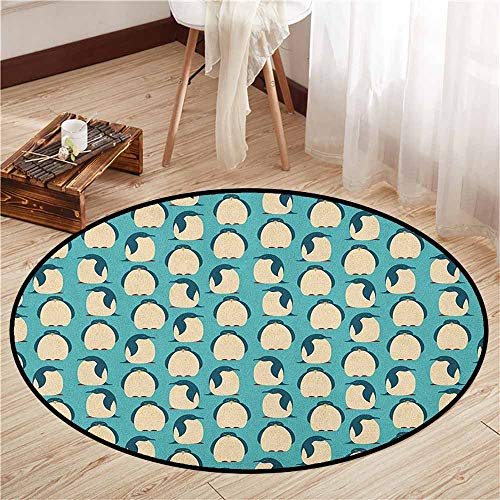 Custom Rugs,Penguin,Arctic Birds Chubby Animal Characters Pattern on Teal Background South Pole Fauna,Super Absorbs Mud,2'11