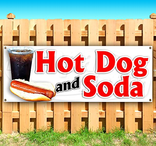 HOT Dog and SODA 13 oz Heavy Duty Vinyl Banner Sign with Metal Grommets, New, Store, Advertising, Flag, (Many Sizes Available) by Tampa Printing