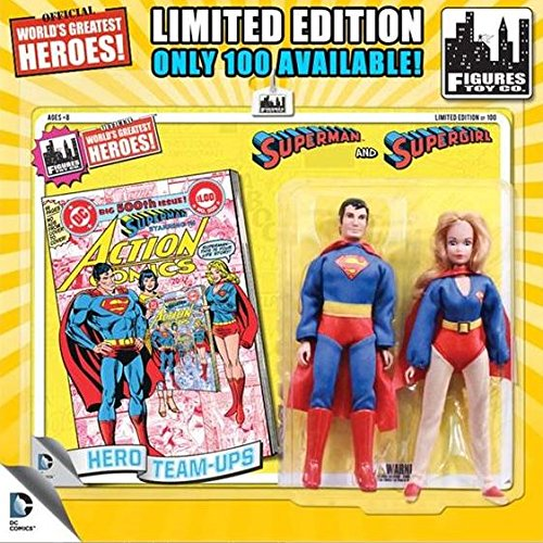 "DC Superman World's Greatest Super Heroes Retro Two-Pack Series 1 Superman & Supergirl 8"" Action Figure 2-Pack [Yellow Card]"