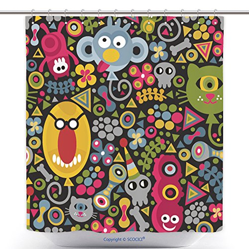 [Antibacterial Shower Curtains Cute Monsters Balloons Seamless Pattern On Dark Background Vector Party Texture For You Backdrop 230147941 Polyester Bathroom Shower Curtain Set With Hooks] (Do It Yourself Monster High Costume)