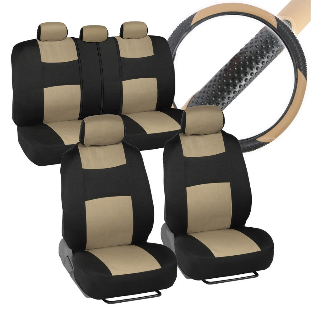 Interior Savers - Polyester Cloth Car Seat Covers & Sport Grip Steering Wheel Cover (Synthetic Leather) for Auto (Black & Beige) by BDK