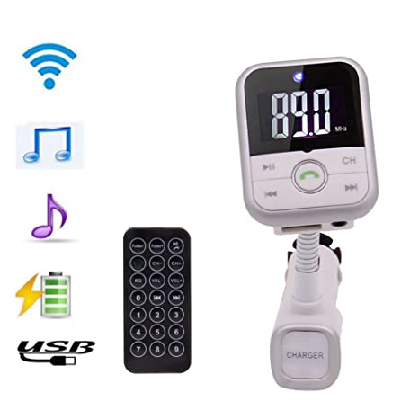 White Silver EinCar Car Kit MP3 USB Bluetooth Hands Free FM Transmitter Radio Adapter Wireless Music Supports U-disc TF Card Playing Non-Retail Packaging