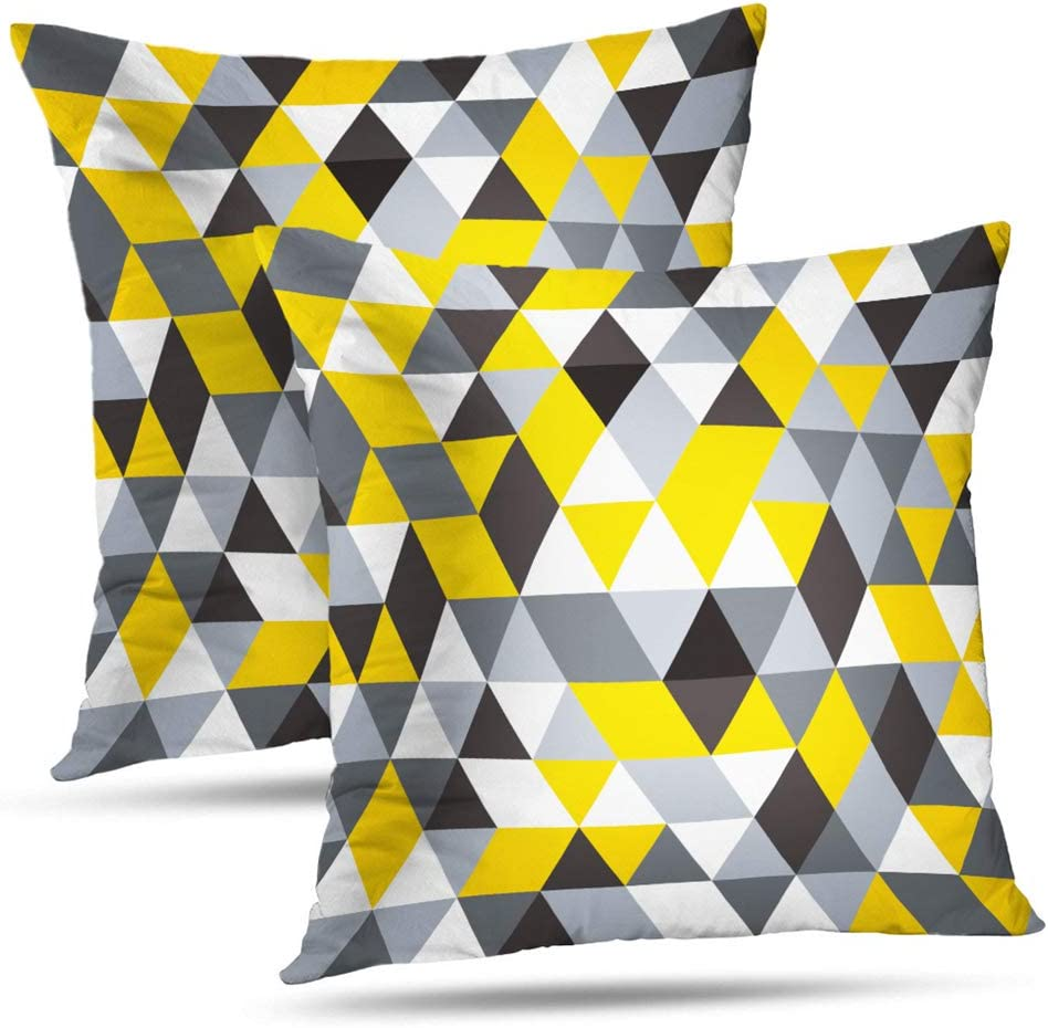 Soopat Decorative Pillow Cover Pack of 2, 16 X16 Two Sides Printed Modern Summer Geometric Pattern Yellow Grey Throw Pillow Cases Decorative Home Decor Indoor Nice Gift Kitchen Garden