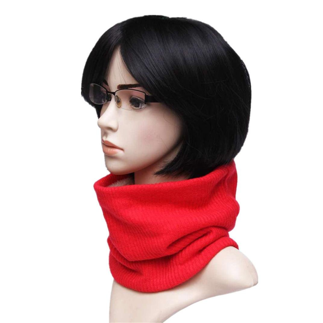 WYXlink Men Women Winter Warm Knitted Scarf Infinity Cable Neck Cowl Collar Velvet Shawl Black)