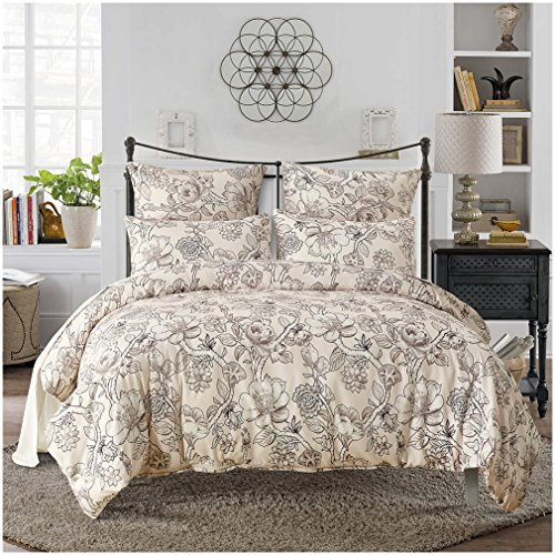 Lightweight Duvet Cover Sets,Ultra-Soft Microfiber,Elegant Floral Pattern Design(King) (Where To Buy Duvet Cover)