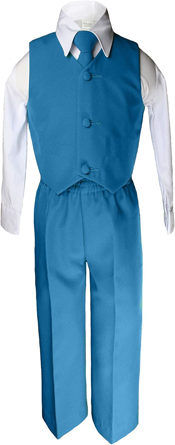 Unotux 6pc Boys Teal Greenish Blue Tuxedo Suits Satin Brown Necktie Baby to Teen