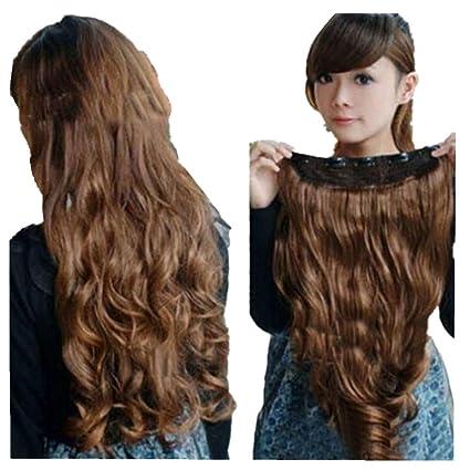 Beikoard Peluca-Clip de cabeza rizado ondulado sintético mujer extensiones de pelo (Café,
