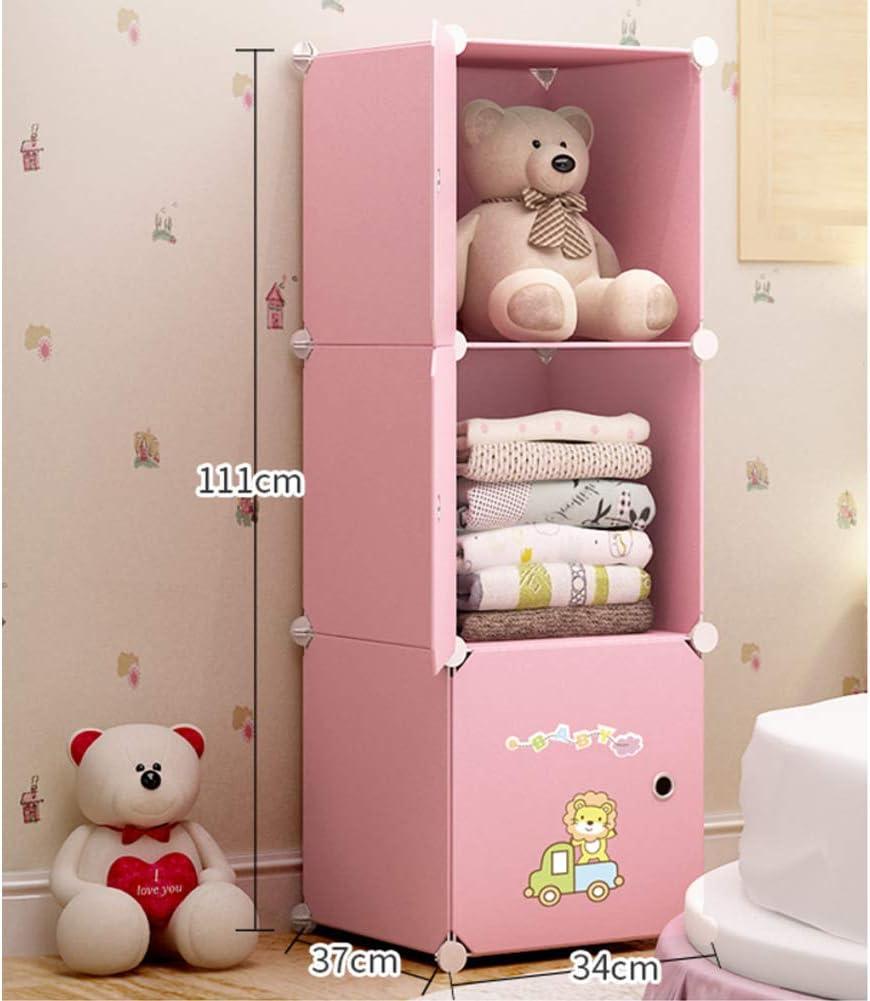 Resin Armoire Armario con Varilla Colgante, Closet Portátil Armario Organizador Cabinet Dresser Cube Storage Shelf Dustproof For Kids Child-Rosado L34×w37×h111cm