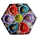 eCraftIndia Terracotta Diya Set (20 cm x 20 cm x 3 cm, Pack of 7, TDIYACD710), Multicolour