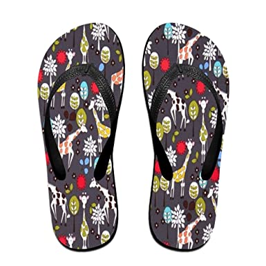 Unisex Non-slip Flip Flops Giraffe With Leaves Cool Beach Slippers Sandal