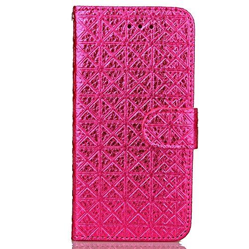 JIALUN-carcasa de telefono Funda iPhone 7, Funda TPU Suave PU Cuero Cuadrado Lattiece Cuadrícula Patrón Caja del soporte de la ventana Caso de la ventana para iPhone 7 ( Color : Red , Size : IPhone 7  Rose