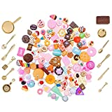 SIX VANKA Miniature Resin Dessert Cake 120pcs Mixed Decoration Tableware Play Food Set for Kids Birthday Party Pretend Play Kitchen Cooking Childrens DIY Decor Doll House Toddlers Educational Toys