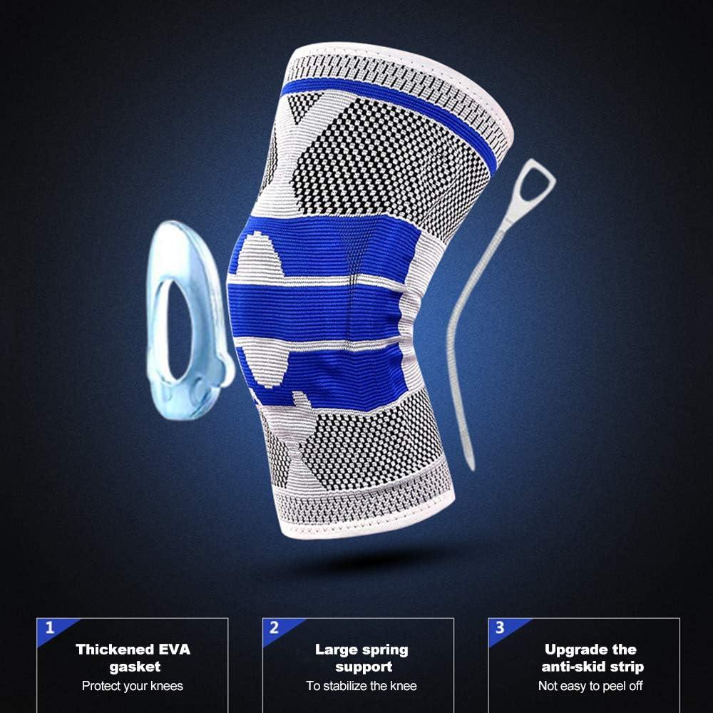 Azul L Explopur Soporte de Baloncesto Rodilleras Acolchadas de Silicona Protecci/ón contra Rodillas Transpirable Negro
