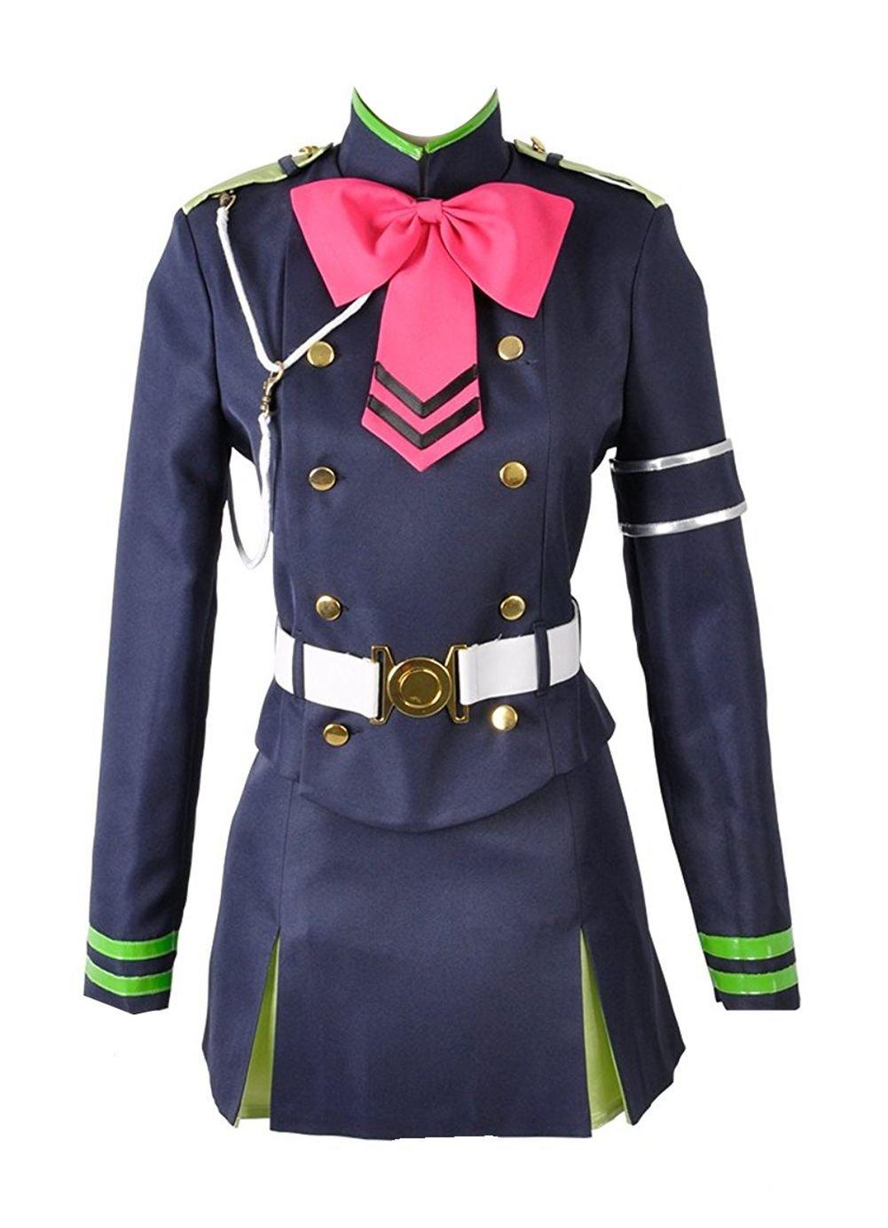 Seraph der Ende shinoa Hiragi Militär Uniform mit Umhang Cosplay Kostüm, Blau