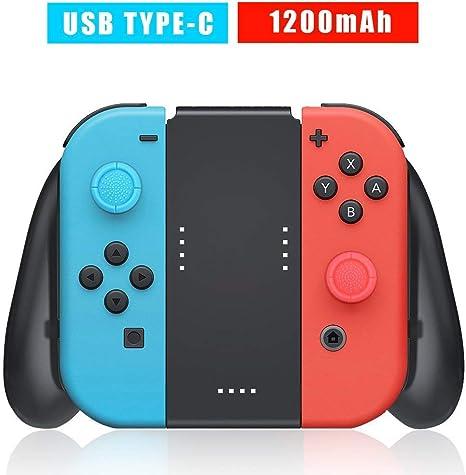 Soporte de Carga para Nintendo Switch Joy-Con, Confort Grip Carga para Mando Joy-Cons con Batería Recargable Incorporada de 1200mAh, Cable de Carga y 2 Pro Thumb Grips incluidos: Amazon.es: Electrónica