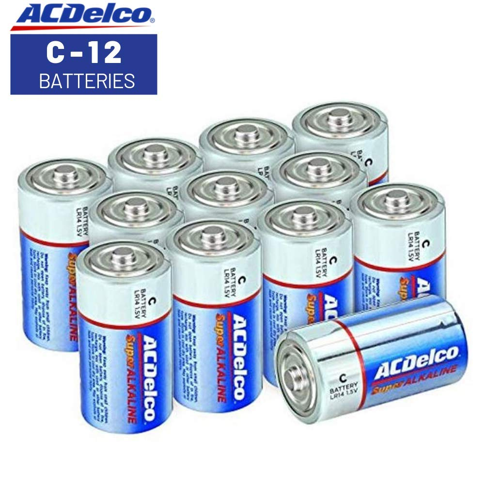 ACDelco C Batteries, Super Alkaline Battery, 12 Count Pack by ACDelco