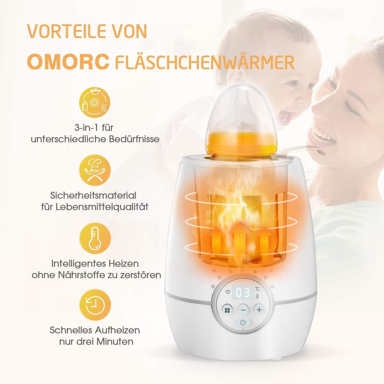 OMORC Babykost- und Fl/äschchenw/ärmer W/ärmehaltung-Wei/ß Desinfektion 3-in-1 Babykostw/ärme mit LED Display 2000W schnelle Erw/ärmung flaschenw/ärmer baby f/ür Schnelle Aufheizung