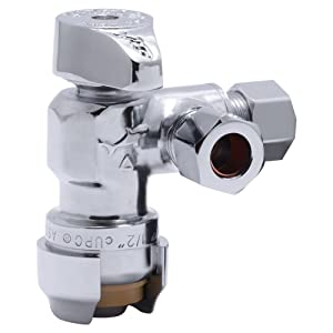 SharkBite 25558LFA Dual Compression Outlet Angle Stop Valve, 1/2 inch x 3/8 inch x 3/8 inch Plumbing Fitting, Quarter Turn, Water Valve Shut Off, Push-to-Connect, PEX, Copper, CPVC, PE-RT