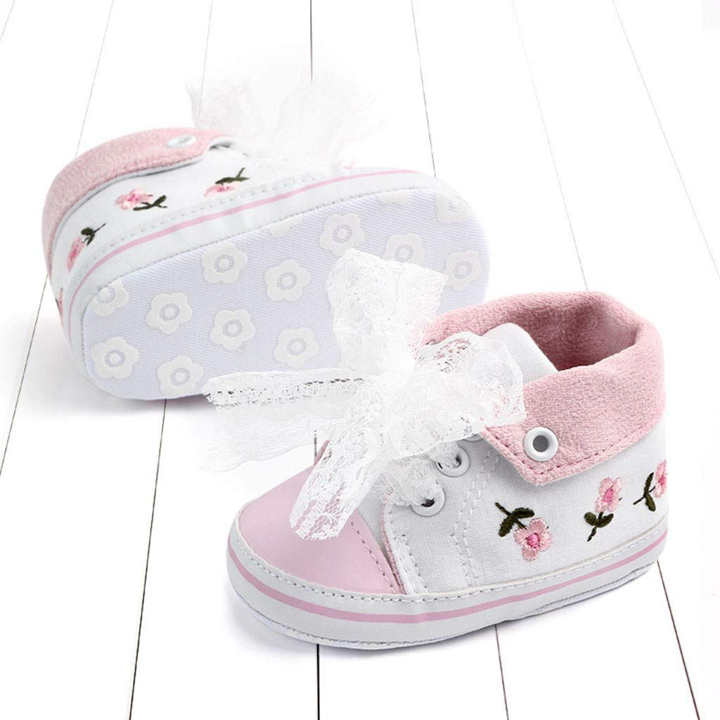 Baby Girl Shoes,❤️LianMengMVP Newborn Girls Toddler Flower Lace Canvas First Walkers Soft Sole Shoes Anti-Slip Casual Shoes Sweet Bowknot Floral Print Shoes