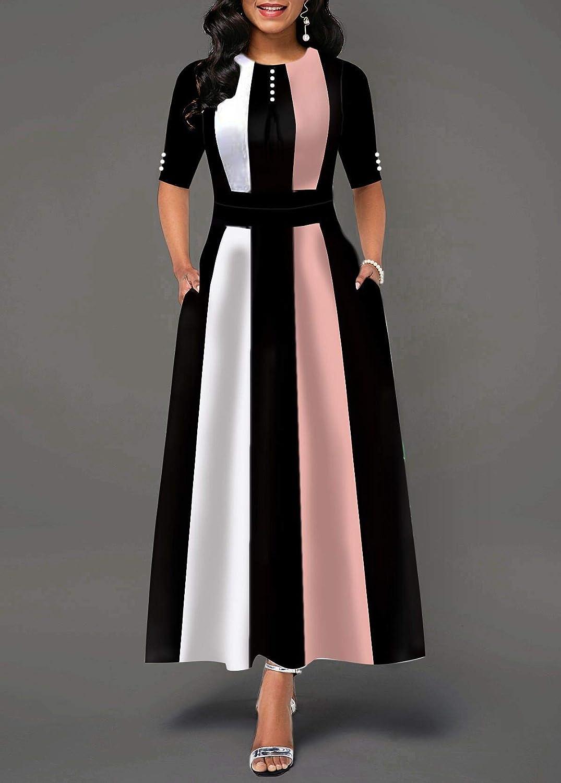 Carolilly Women's Vintage Chic High Waist Long Sleeve Striped Dress Pink