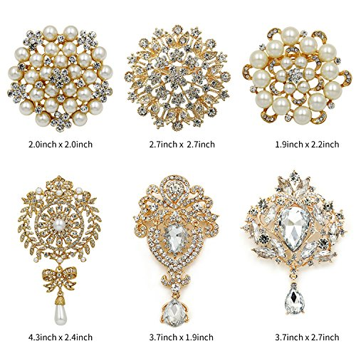 WeimanJewelry Silver/Gold Plated 24pcs Crystal Rhinestones Brooch Pins for DIY Wedding Bouquets Kit (Gold large 6pcs) by WeimanJewelry (Image #1)