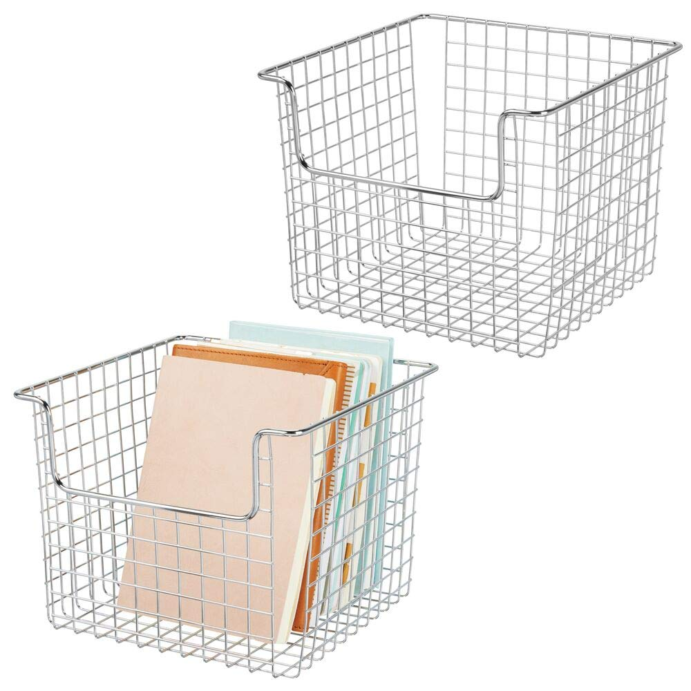 "mDesign Metal Wire Storage Organizer, Holder Bin Basket - for Cube Furniture Shelving Organization for Closet, Entryway, Bedroom, Bathroom, Home Office - 10"" Wide, 2 Pack - Chrome"