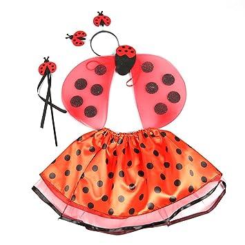 BESTOYARD Juego de Disfraces de Mariquita 4 piezas Ladybug Antena