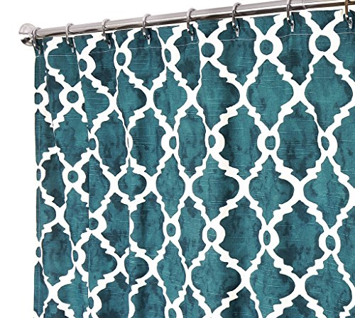 Unique Shower Curtains Designer Fabric Teal Blue Print Hand Painted Look Designer 72