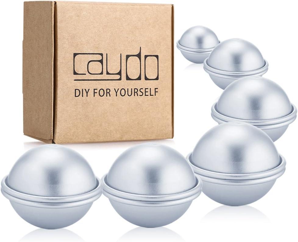Caydo 12 Pieces 3 Sizes 4cm/ 5cm/ 6cm DIY Metal Bath Bomb Mold 6 Set for Crafting Your Own Fizzles