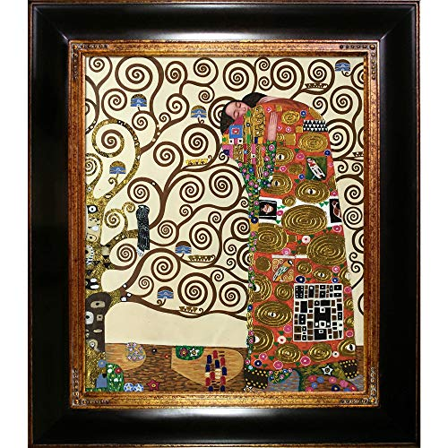 La Pastiche The Embrace Metallic Embellished Artwork By Gustav Klimt With Gold Mother Of Pearl - Mother Monet Pearl Of