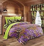 20 Lakes Camo Comforter, Sheet, Pillowcase Set (King, Purple - Neon Green)