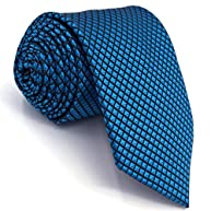 Shlax&Wing Mens Neckties Solid Blue Ties Silk Fashion Extra Long Skinny Wedding