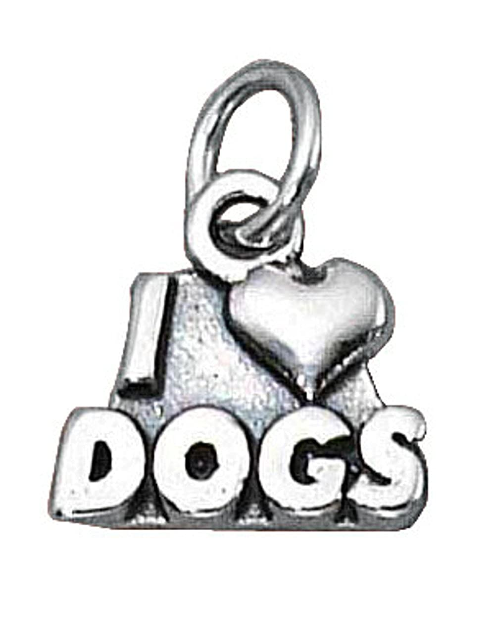 Sterling Silver 7 4.5mm Charm Bracelet With Attached I Love Dogs Word Charm