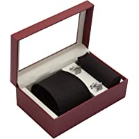 Vibhavari Men's Black Sleek Tie, Pocket Square and Cufflink Set