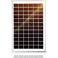 SARONIC Mono Panel Solar de 10W 12V con una Línea de Clip de Cocodrilo de 0,9m para Caravana, Autocaravana, Barco
