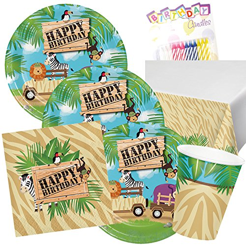 1st Jungle Animal Safari Birthday Party Supplies Pack for 16 Guest Plates Napkins Cups and Tablecloth First Jungle Animal Party Tableware Supply Set Kit include Birthday Candles Jungle Party Table Cover
