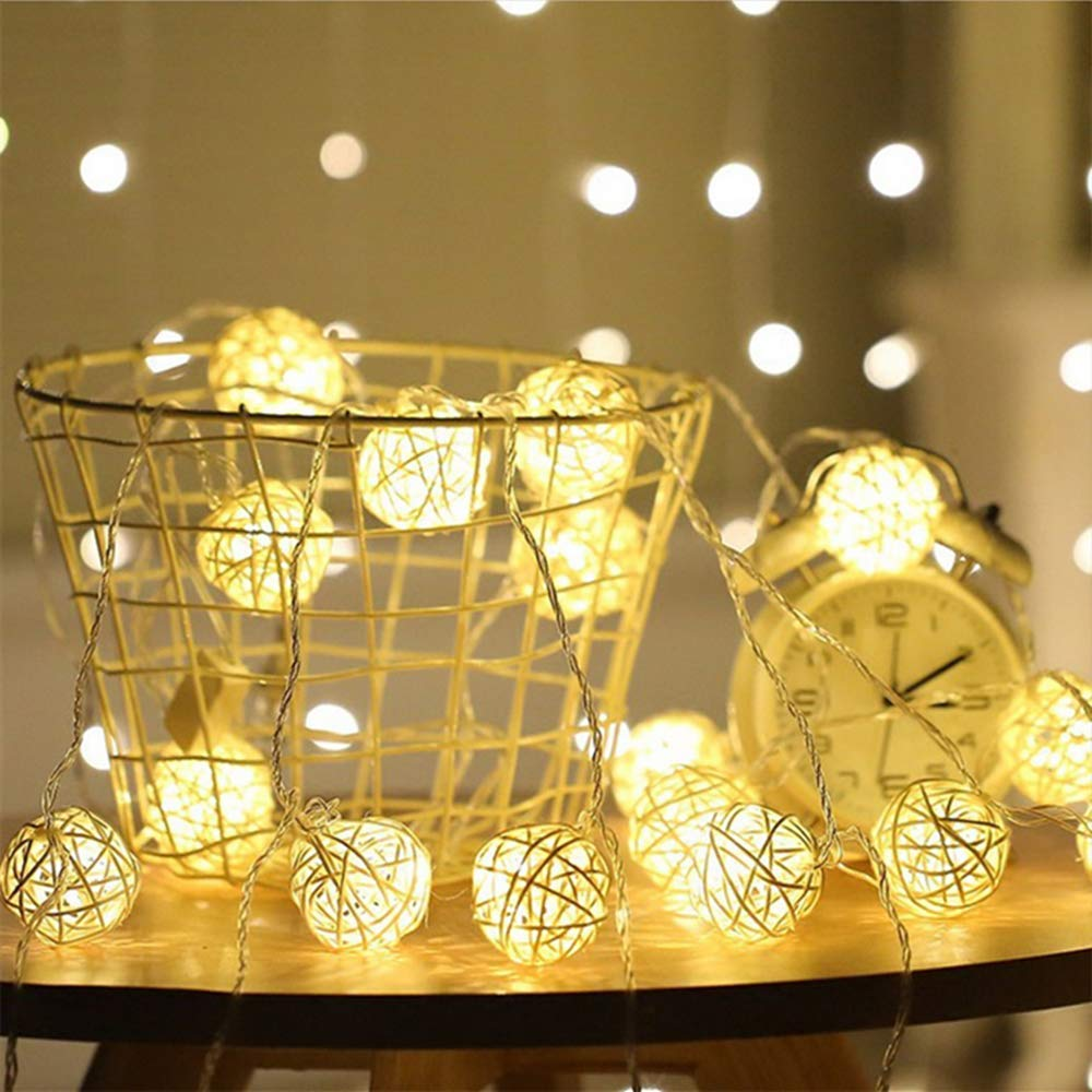 padom Warmwhite 4m 20 Rattan Ball LED String Light Warm White Colorful Fairy Light Holiday Light Party Christmas Wedding Decoration (Without Batteries)