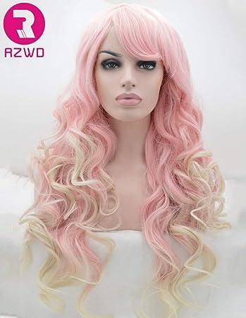 Rzwd Cute Ombre Blond Pink Gewellt Perücken Für Damen Weiß