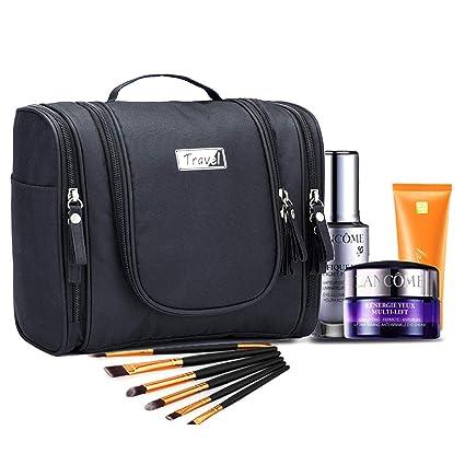 Neceser de Viaje para Colgar Mujer, Bolsa de Aseo Impermeable con Gancho, Neceser Maquillaje Grande, Negro