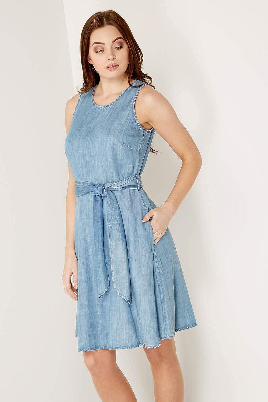 42c18e8df2 Roman Originals Women Denim Skater Dress with Pockets - Ladies Cotton Knee  Length Sleeveless Daytime Summer Dresses - Denim Skater Blue  Amazon.co.uk   ...