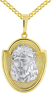 14k Two Tone Gold Jesus Face Head Charm Pendant Small Size Unisex His Her