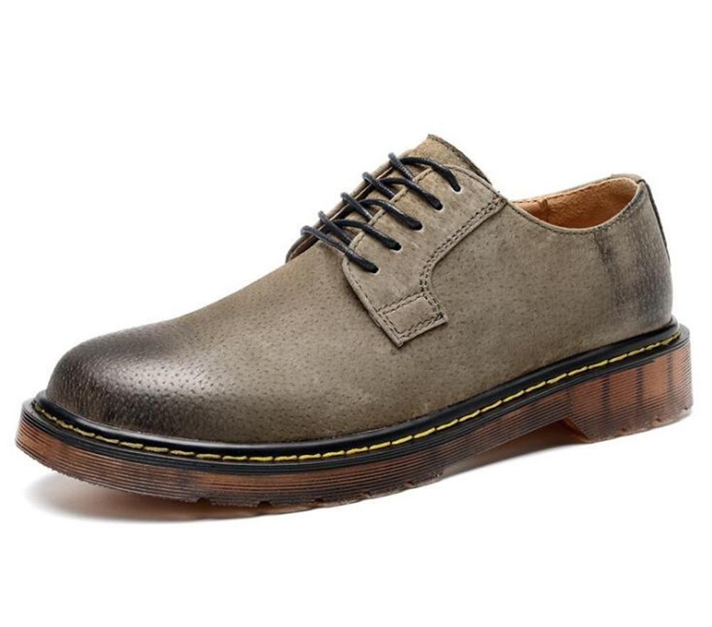 Zapatos de hombre Retro Scrub Leather Martín Entrenadores Suela blanda Cordones Tamaño 38 a 44 , khaki , EU42 EU42 khaki
