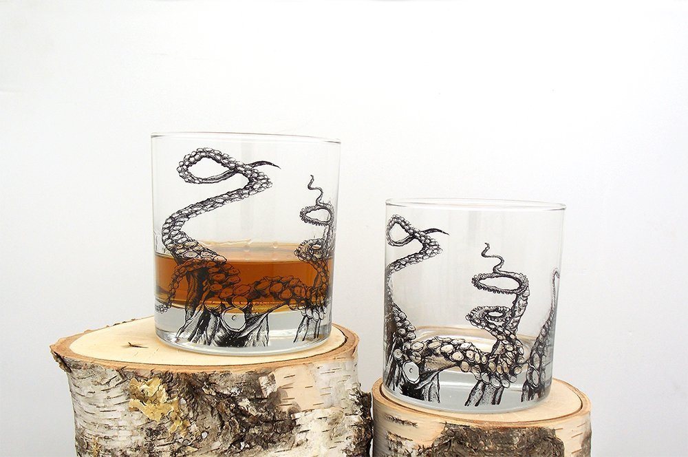 Octopus Tentacle Rock Glasses - Set of Two 11oz. Tumblers