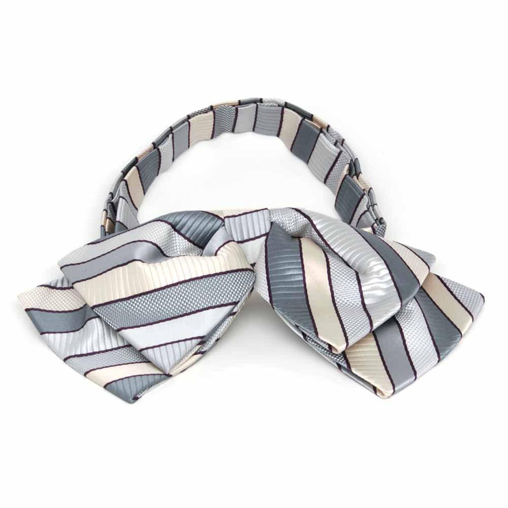 TieMart Light Silver Douglas Stripe Floppy Bow Tie